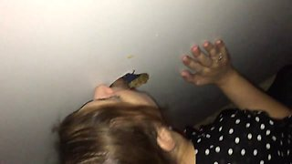 Amateur gf's first glory hole