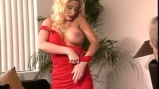 Fine majestic blonde milf in red dress gives amazing head