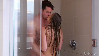 Mature babe's big, beautiful tits bounce as she fucks in the shower