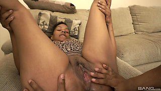 Pregnant ebony whore Dee Licious enjoys having sex with her lover