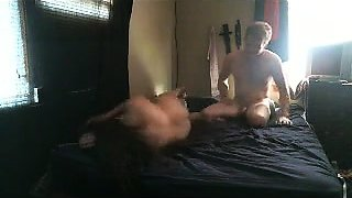 Curvy amateur wife wildly rides a hard shaft on hidden cam