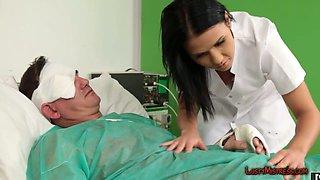 Hot nurse giving head in sixty nine