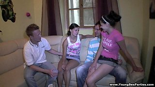 Hardcore foursome action with some sexy Russian teens