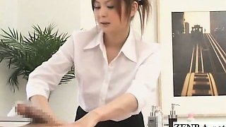 Subtitled CFNM Japanese massage with obvious erection
