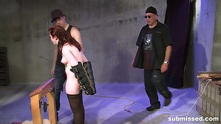 Hardcore spanking and abuse session for a redhead inked teen babe