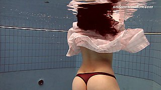 Nice ass solo model loves swimming in cozy pool lovely