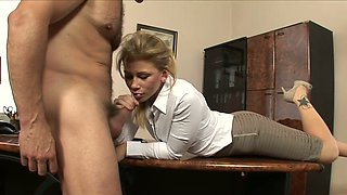 Lusty nerdy secretary Brooklyn Lee rides her boss on the table