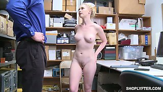 Shoplifting chick Athena Rayne gets her cunt and mouth punished in the backroom