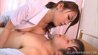 breathtaking asian nurse with big tits giving a sensual handjob then a stunning tit fuck