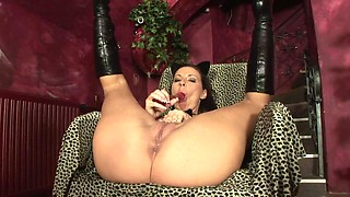 Endearing Leggy opted to masturbates as she inserts her twat a toy dick