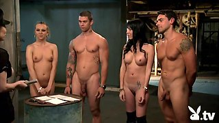 Two big tits female foursome in a prison cell