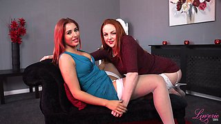 Two red haired chubby chicks undress and fondle each other while telling dirty stories
