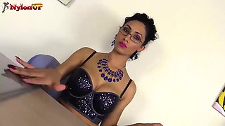 Teacher Mistress Alexya in Stockings and Strapon gives you a
