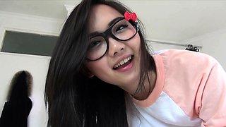 18yo asian teen in cute panties blows and swallows