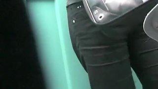 Voyeur films woman pissing in portable toilet