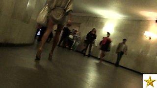 Street voyeur shoots a hot Russian teen with fabulous legs