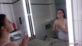 German BBW Step Sister Seduce to Fuck in Bathroom by Bro