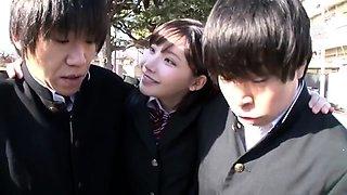 Akane Yoshinaga Asian teen in school uniform creampied