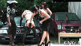 Naughty mistress ties up her bondman and gives him a handjob