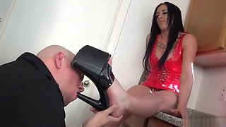 Mistress wipes his feet on slave face 01