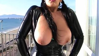 Busty Latex Babe on the Roof Terrace - Blowjob Handjob with Black Latex Gloves - Cum on my Tits