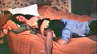 Vintage sex compilation with brunette chick and two horny lesbians