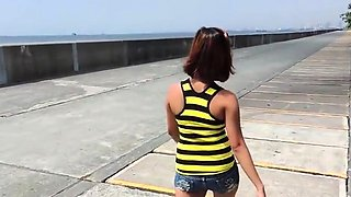Cunning brunette floozy blows pole and bounces it