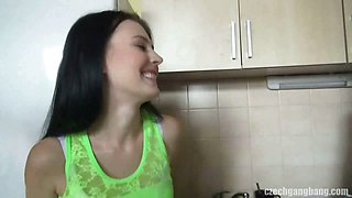 CZECH GANGBANG ORGY - Too many cocks for one pretty chick