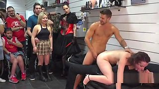Slave gets double penetration in public