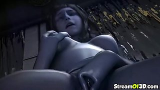 Sexy brunette 3D babes take dick in pussy and mouth