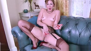 Dirty blonde masturbates in vintage brown nylons stilettos