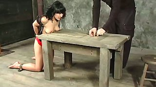 Brunette hottie gets pulled by her pierced nipples in BDSM video