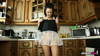 Black haired slutty housemaid Jane performs solo at kitchen