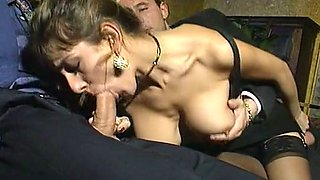 Sizzling hot young busty bitch loves hardcore anal threesome