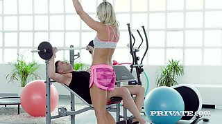 Vivid sporty Czech cutie Victoria Pure is so into riding her coach on top