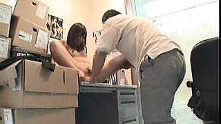 Petite Asian babe with tiny tits gets nailed in the office
