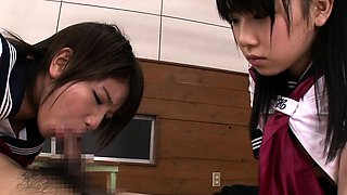 Naughty young japanese schoolgirls sharing cock