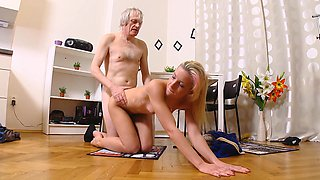 Old man fucks sexy young blonde in her tight anal