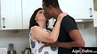A big black cock squirted a big sticky load on granny Tildas face
