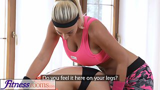 Fitness Rooms Huge natural tits babe rubs wet pussy on young gym cutie