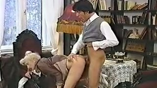 Sweet lean sexy blondie eats dick and bends over on the chair